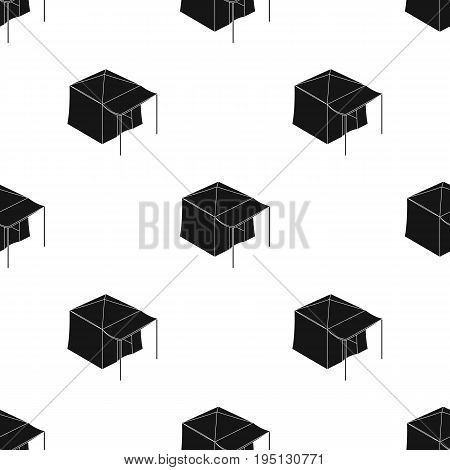 Tent with awning.Tent single icon in black style vector symbol stock illustration .