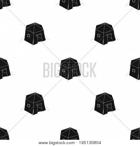 Tourist tent.Tent single icon in black style vector symbol stock illustration .
