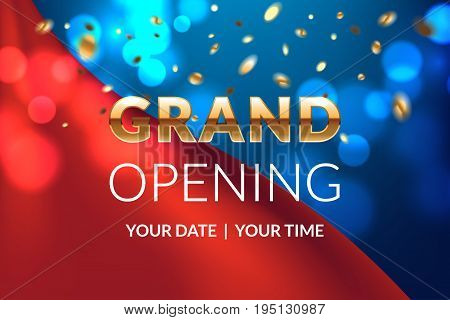 Grand opening banner concept. Celebration design. Gold glitter letters on luxury background with light effect, silk fabric and confetti. Applicable for flyer, presentation and poster design.