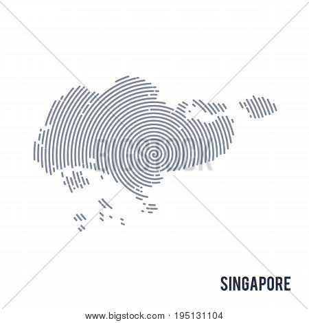 Vector Abstract Hatched Map Of Singapore With Spiral Lines Isolated On A White Background.
