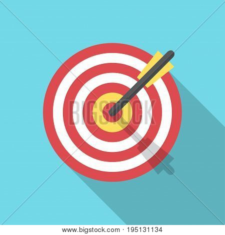 Target with an arrow flat icon concept market goal vector picture image. Concept target market audience group consumer. Bullseye or goal Isolated sign. Illustration of a target with an arrow.