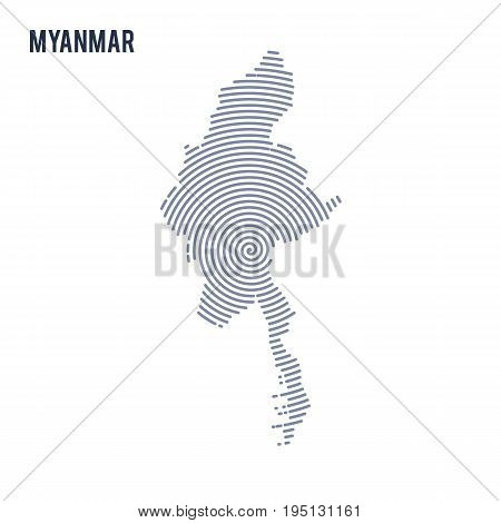 Vector Abstract Hatched Map Of Myanmar With Spiral Lines Isolated On A White Background.