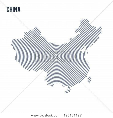 Vector Abstract Hatched Map Of China With Spiral Lines Isolated On A White Background.