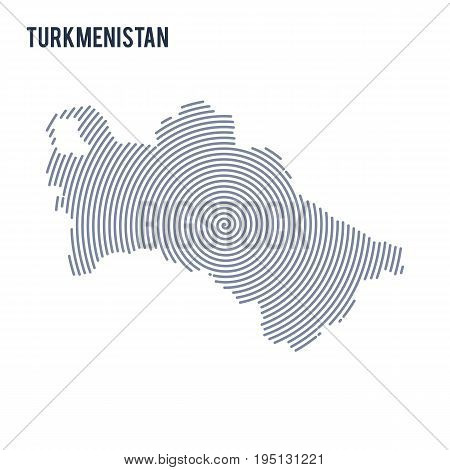 Vector Abstract Hatched Map Of Turkmenistan With Spiral Lines Isolated On A White Background.
