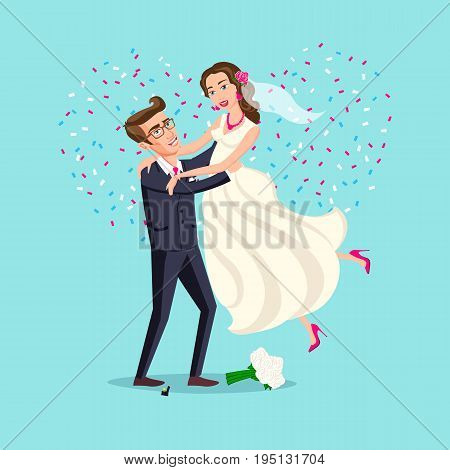 Just Married Funny Couple, Bride And Groom Dance From After Wedding Ceremony Pink Background Heart V