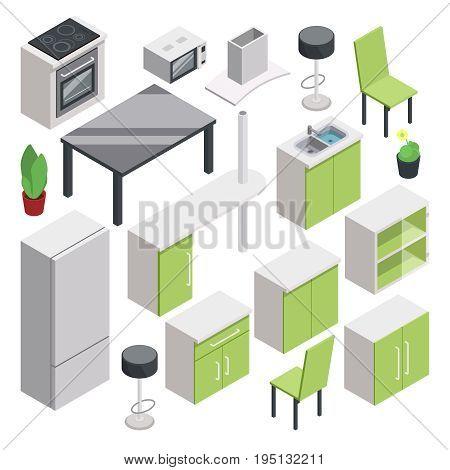 3d room design. Vector isometric furniture set for kitchen. Interior isometric for kitchen or dining room. Vector illustration
