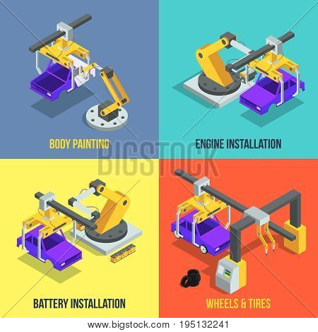 Car production phases. Automated machinery line. Industrial isometric vector illustration. Machinery production technology, assembly line automobile