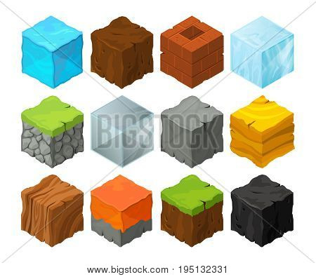Isometric blocks with different texture for 3d game location design. Lava, stones, ice and grass. Metal and wood vector cubes for game isometric design, block ice wood and stone illustration
