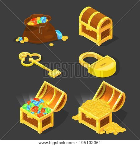 Old wooden chest with treasures, vintage key and lock. Vector illustrations in cartoon style. Treasure chest of diamonds and gold coins