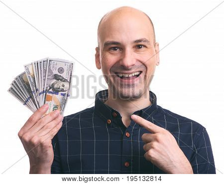 Man Holding Us Paper Currency