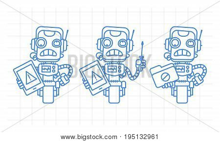 Three variants robot character holding tablet screwdriver folder scribble. Vector illustration. Mascot character.