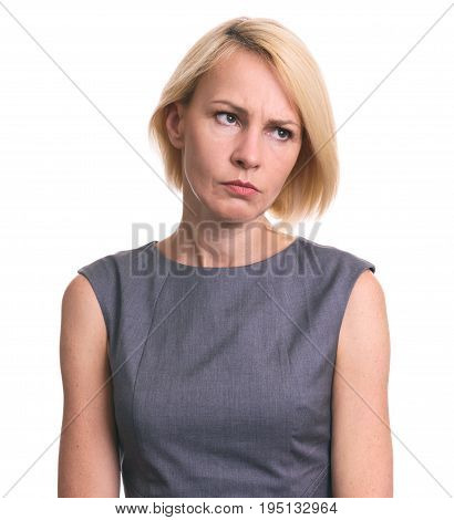 Portrait Of Angry Woman Looking Away Isolated