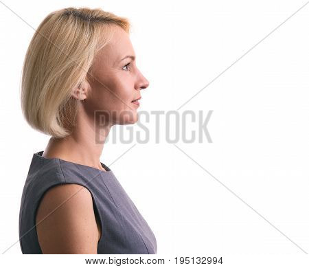 Profile Portrait Of A Happy Woman Isolated