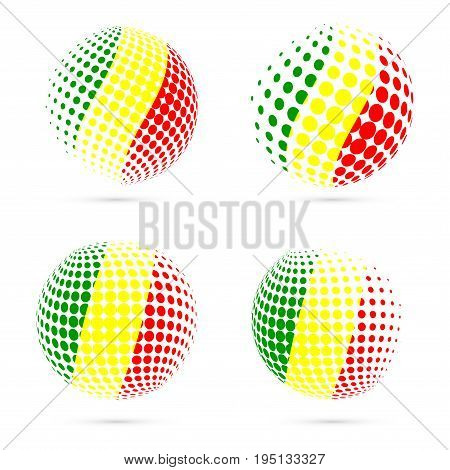 Mali Halftone Flag Set Patriotic Vector Design. 3D Halftone Sphere In Mali National Flag Colors Isol