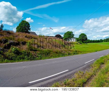 Beauty country road side wiew and mountain background