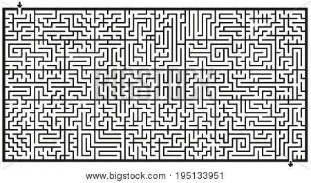 Maze - horizontal format labyrinth - isolated vector illustration over white background.