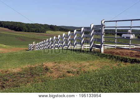 White wooden fence crossing a farm yard to coral animals