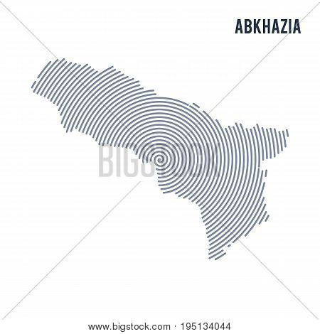 Vector Abstract Hatched Map Of Abkhazia With Spiral Lines Isolated On A White Background.