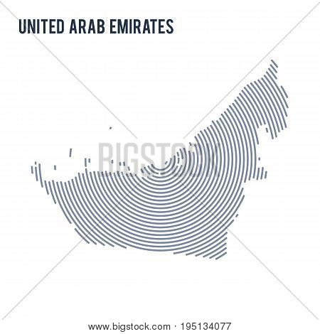 Vector Abstract Hatched Map Of United Arab Emirates With Spiral Lines Isolated On A White Background
