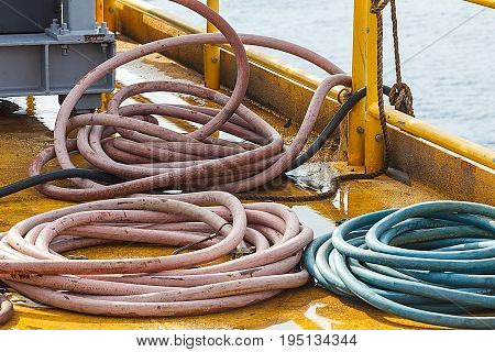 Air supply hose prepare for use on production platform Energy and petroleum industry sea offshore