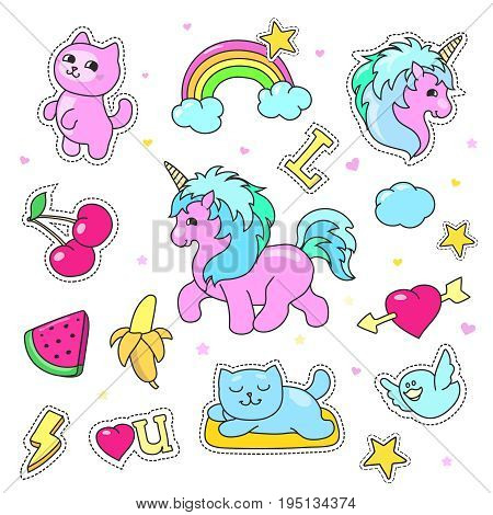 Patch badges with hearts, unicorn, clouds, cats, illustration for girls isolated on white background. Set of stickers, pins, patches in cartoon comic style.