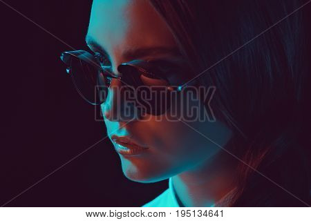 Headshot Of Fashionable Young Caucasian Woman In Stylish Sunglasses
