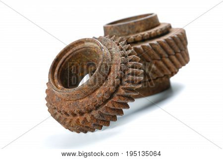 brown rusty gears isolated on white background