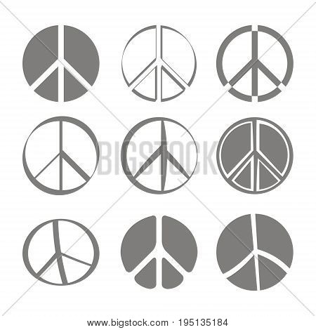 Set of monochrome icons with Peace symbols for your design