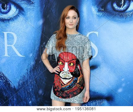 Sophie Turner at the HBO's 'Game Of Thrones' Season 7 premiere held at the Walt Disney Concert Hall in Los Angeles, USA on July 12, 2017.