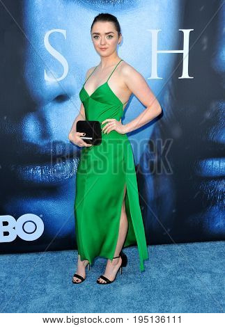 Maisie Williams at the HBO's 'Game Of Thrones' Season 7 premiere held at the Walt Disney Concert Hall in Los Angeles, USA on July 12, 2017.