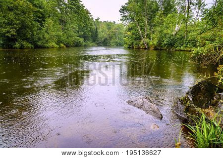 Scenic view of a river on Upper Peninsula, Michigan during rain