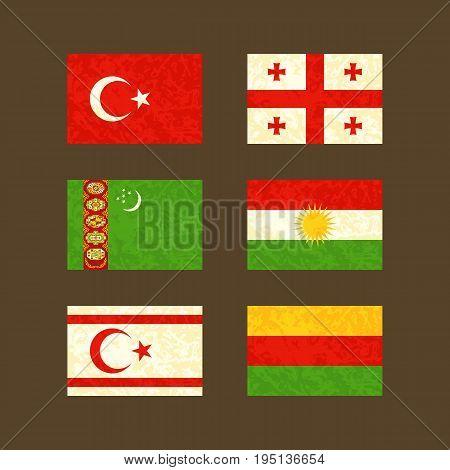 Flags of Turkey Georgia Turkmenistan Kurdistan Northern Cyprus and Rojava. Flags with light grunge dirty effect.