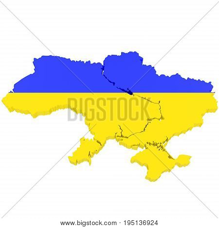3D Map of Ukraine with flag colors. 3d illustration isolated on white