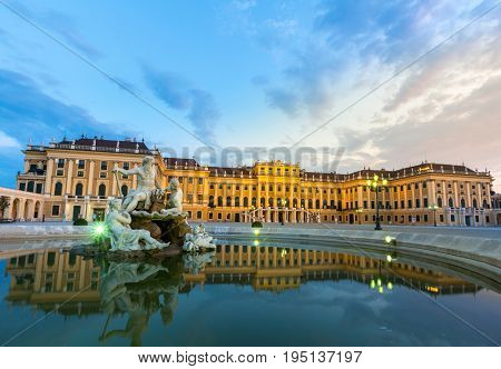 VIENNA, AUSTRIA - JULY 24: Statue in Schonbrunn Palace Garden in Vienna Austria on July 24, 2015. Schonbrunn Palace  is a former imperial summer residence located in Vienna, Austria.