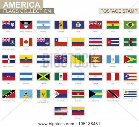 Postage Stamp With America Flags. Set Of 42 American Flag.