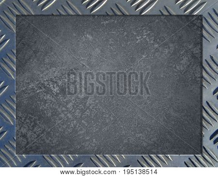 Metal background or frame of brushed steel plate
