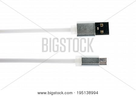 Two Gray Connectors Of White Micro Usb Cable On White Isolated Background. Horizontal Frame