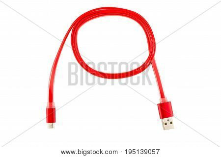 Red Micro-usb Cable Twisted Into A Ring, On A White Isolated Background. Horizontal Frame