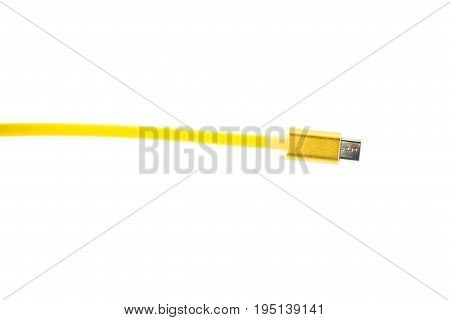 Yellow Micro Usb Connector Cable On White Isolated Background. Horizontal Frame