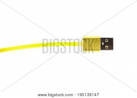 Yellow Usb Connector Cable On White Isolated Background. Horizontal Frame