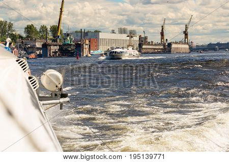 St. Petersburg Russia - June 28 2017: High-speed hydrofoil ship in St Petersburg