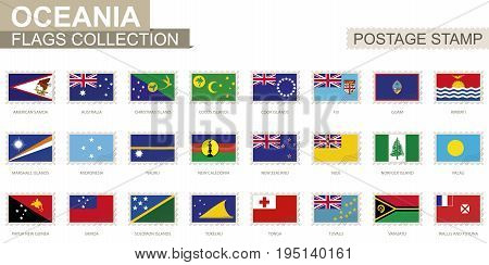 Postage Stamp With Oceania Flags. Set Of 62 Oceanian Flag.