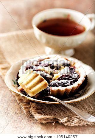Mini Plum Tart and a cup of Tea