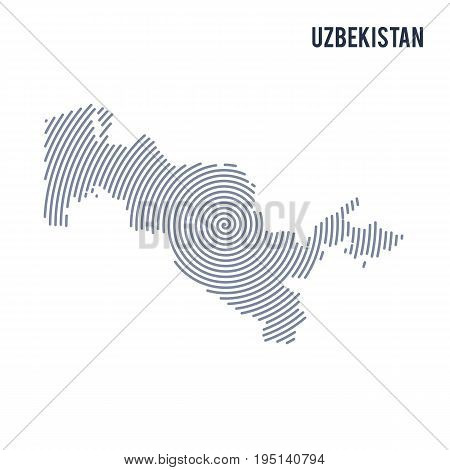 Vector Abstract Hatched Map Of Uzbekistan With Spiral Lines Isolated On A White Background.