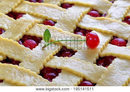 Close-up Of Uncooked Sour Cherry Pie