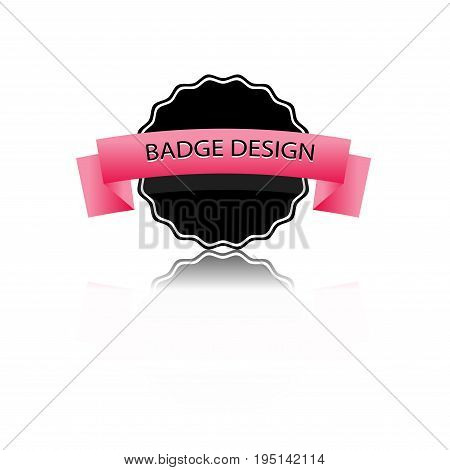 Black and pink badge vector with reflex shadow vector badge flat modern style labels and ribbons badges isolated badges icons and logo.