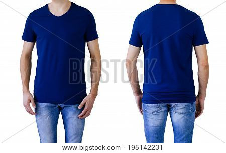 Dark blue t-shirt on a young man isolated, front and back