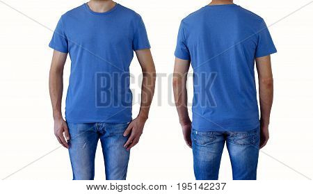 T-shirt design and people concept - close up of young man in blank blue, t-shirt front and rear isolated.