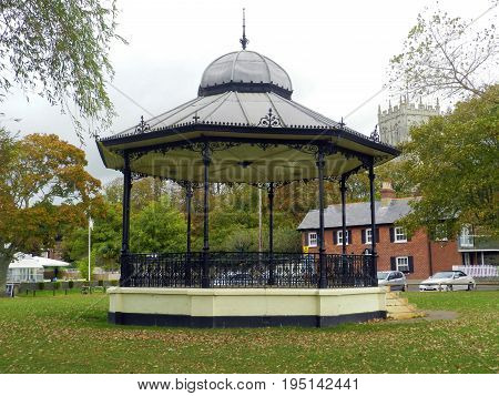 The Bandstand in the park next to the quay at Christchurch, Dorset