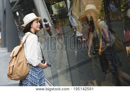 Woman Shopping In Hong Kong Central